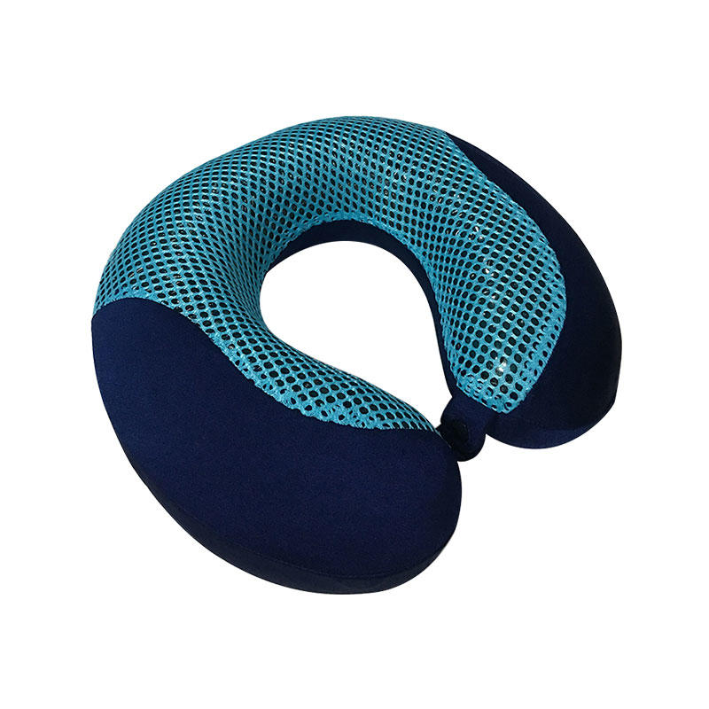 OEM Bamboo charcoal memory foam cool gel neck pillow, mesh & velvet cover, MP-3131GC Ningbo Qihao