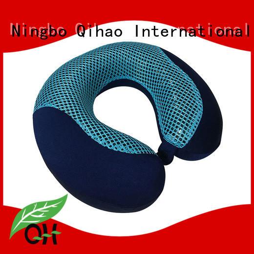 OEM Bamboo charcoal memory foam cool gel neck pillow, mesh & velvet cover, MP-3131GC Ningbo Qihao