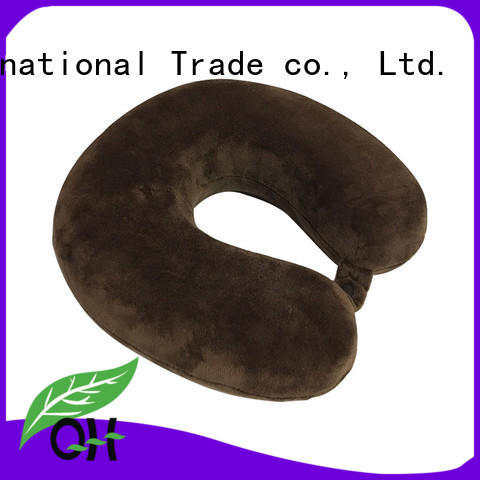 OEM Memory foam neck travel pillow, velvet or lycra cover, snap, MF-2928 Ningbo Qihao