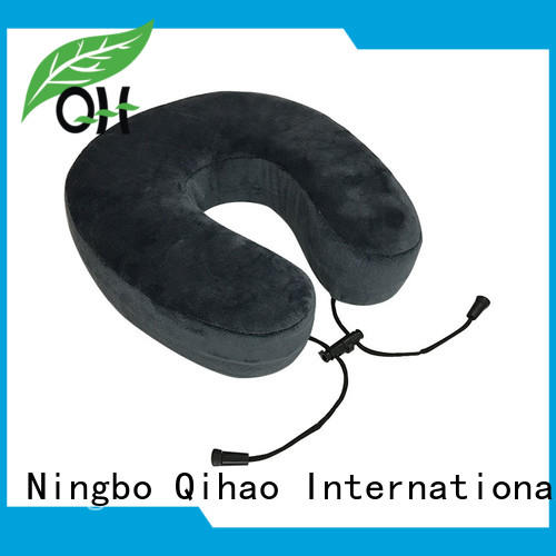 Memory foam u pillow, w adjustable rope, velvet or lycra cover, snap, MF-2928R Ningbo Qihao