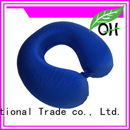 OEM Cool touch memory foam neck pillow with gel layer, mesh & velvet cover, MF-3030G Ningbo Qihao