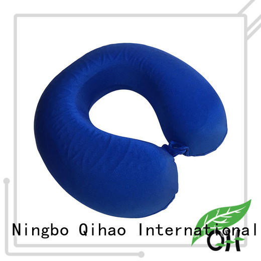 OEM Cool touch memory foam neck pillow with gel layer, mesh & velvet cover, MF-3030G Ningbo Qihao