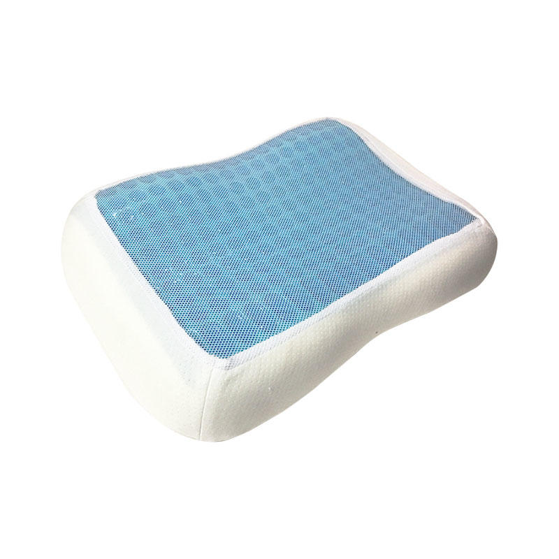 Cool touch contour memory foam pillow with silicone gel layer, mesh cover, MF-503508G Ningbo Qihao