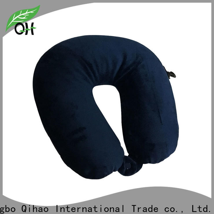 Qihao button best airplane neck pillow factory for businessmen