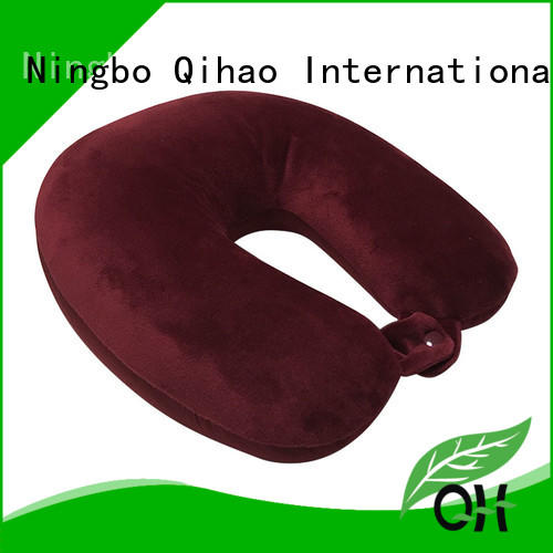 OEM Solid color micro pearl U shape travel neck pillow, super-soft velvet and  spandex fabric, with button, Dual purpose design MB-301 Ningbo Qihao