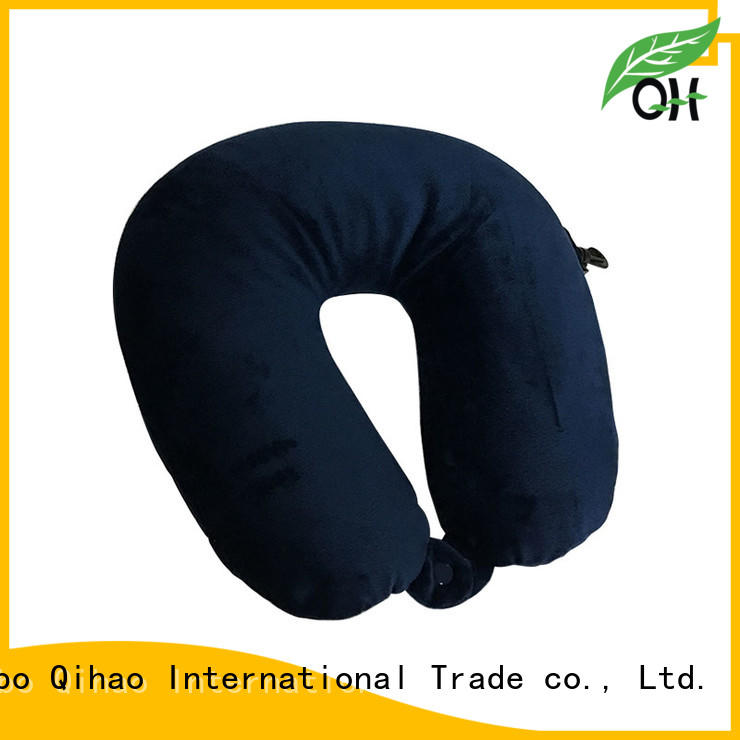OEM Solid color microbead pillow travel U shape  pillow, super-soft velvet and  spandex fabric, with hook and button, Dual purpose design MB-302 Ningbo Qihao