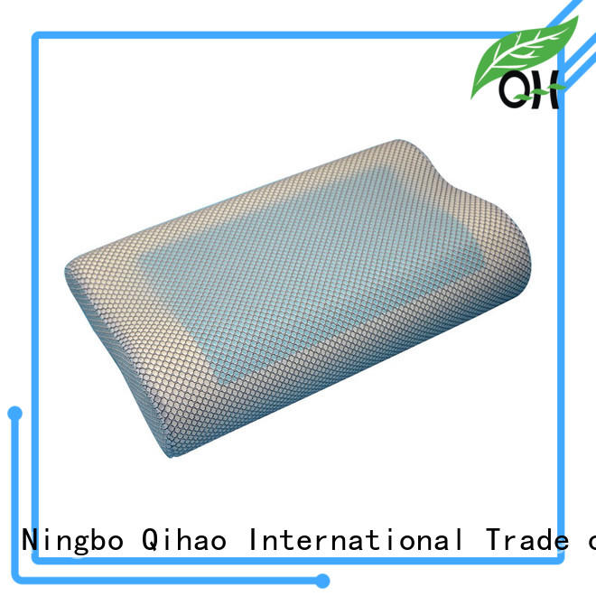 Cool touch gel pillow contour memory foam pillow with silicone gel layer, sandwich mesh cover, MF-503010G Ningbo Qihao