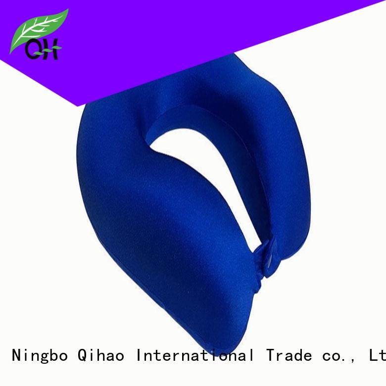 Cool Feel Luxury Memory foam travel neck pillow with snap, lycra cover, MF-302810 Ningbo Qihao
