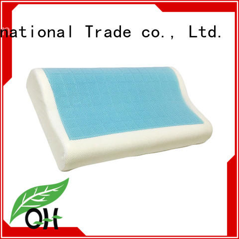 Cool touch contour gel pillow memory foam pillow with large silicone gel layer, mesh cover, MF-503010GL Ningbo Qihao